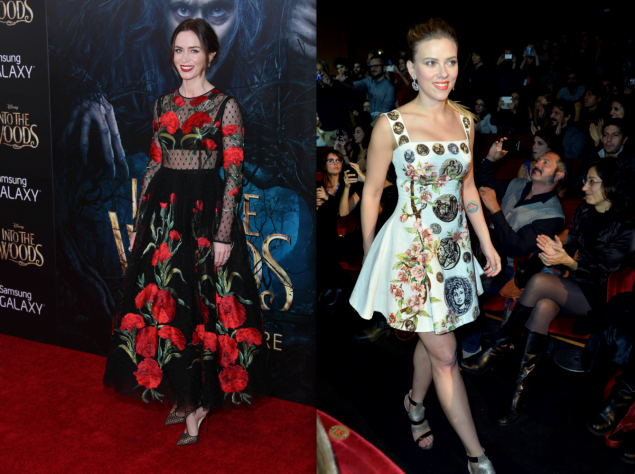 Emily Blunt wears D&G at Into the Woods premiere in December 2014; Scarlett wearing D&G at 'Her' premiere in 2013. (Photos: Getty)