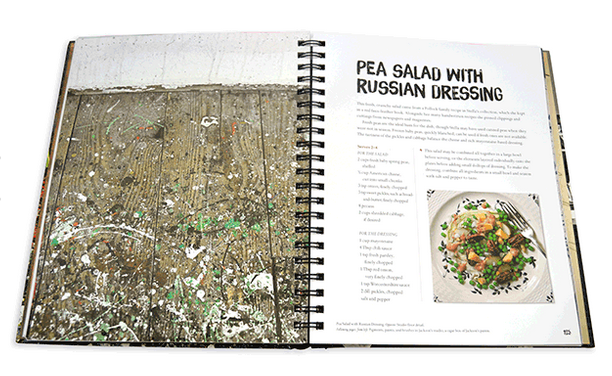The floor of Pollocks studio juxtaposed with his recipe for pea salad with Russian dressing. Photo courtesy Assouline)