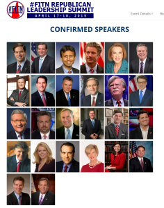"""New Hampshire was supposed to be fertile ground for Christie, who visited often in 2014, but his tardy response to a critical party function may have underlined organizational problems there; the governor appears last on this who's who of Republicans appearing at the dinner. (screencap """"First in the Nation"""" Leadership Summit)"""