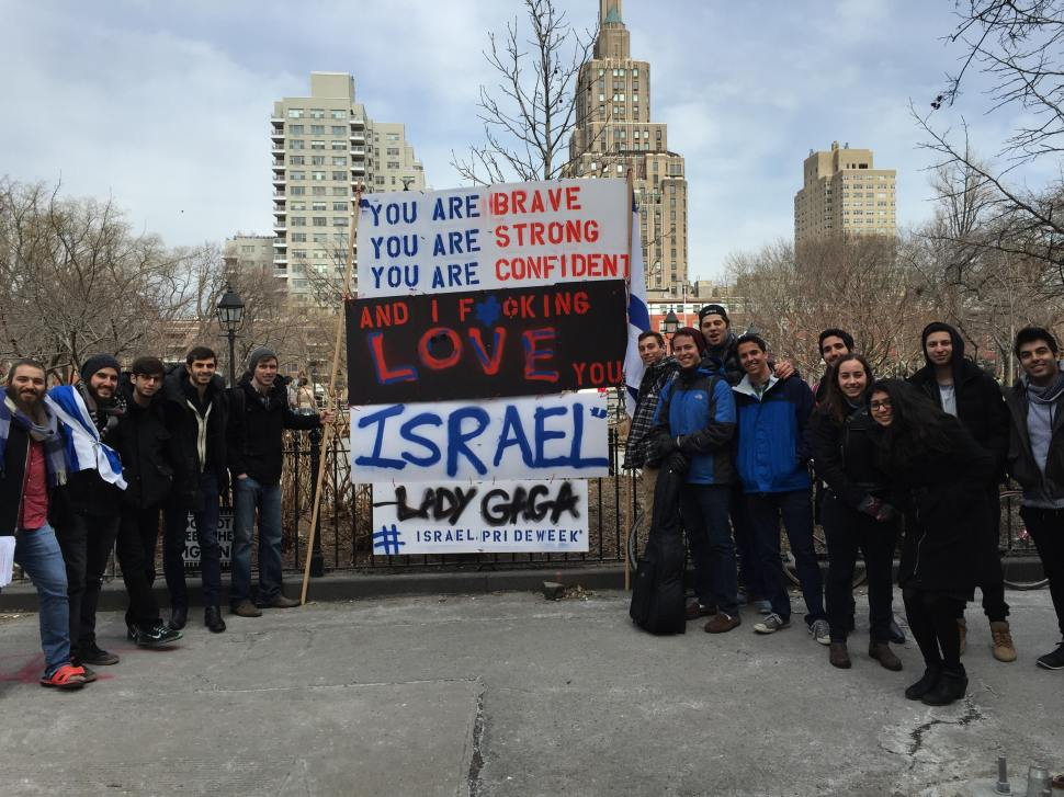 Led by Mendy Boteach, students at NYU are rallying against Israeli Apartheid Week, using a quote from Lady Gaga as inspiration (Shmuley Boteach/New York Observer)