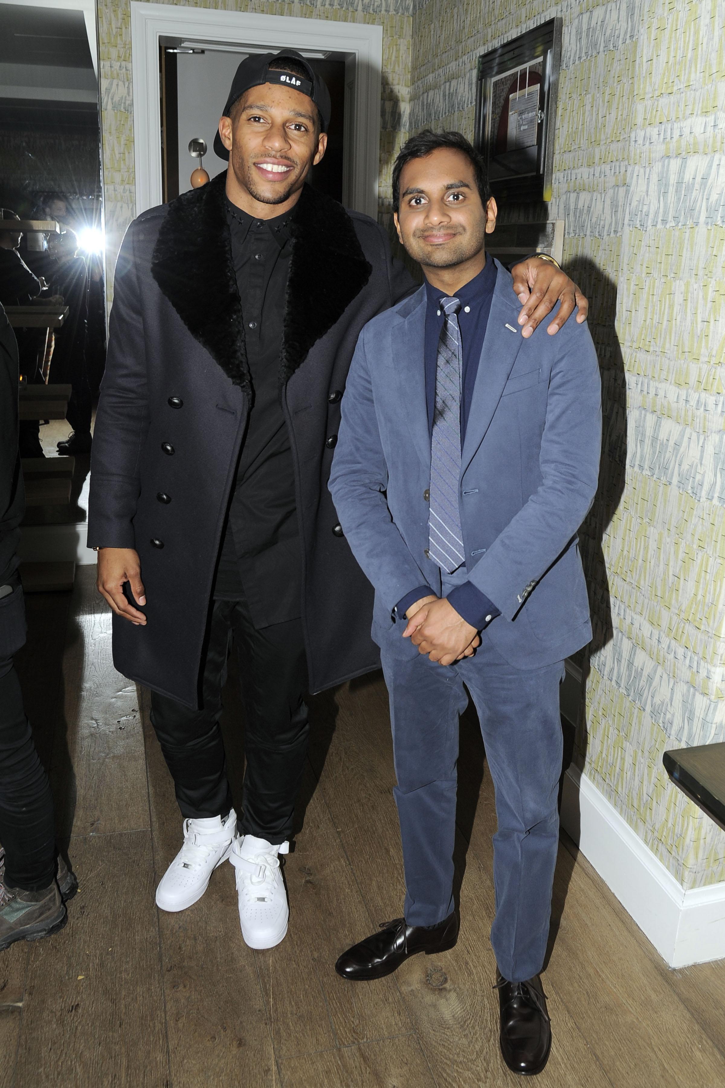 Victor Cruz and Aziz Ansari at the latter's Netflix premiere (Photo: Patrick McMullan).