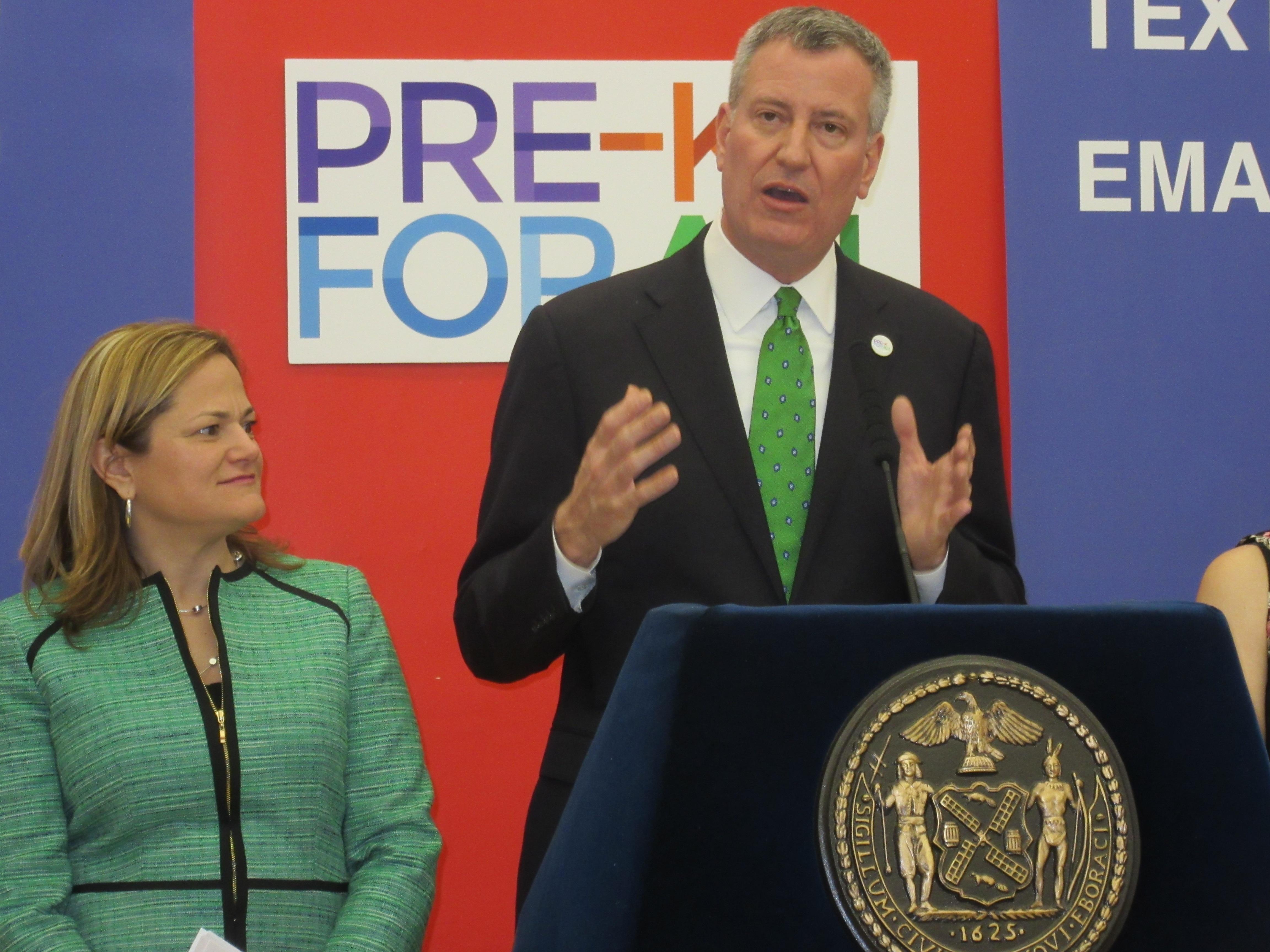 Mayor Bill de Blasio, right, with Council Speaker Melissa Mark-Viverito (Photo: Will Bredderman).