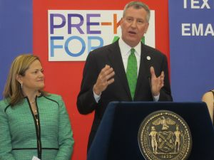 Mayor Bill de Blasio, right, with Council Speaker Melissa Mark-Viverito (Photo: Will Bredderman for Observer).