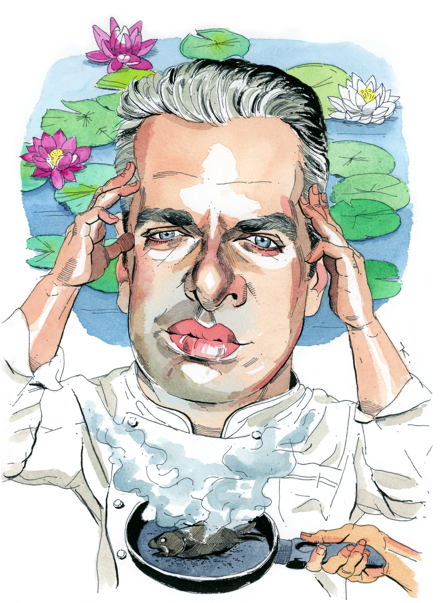 Illustration of Eric Ripert by  Paul Kisselev