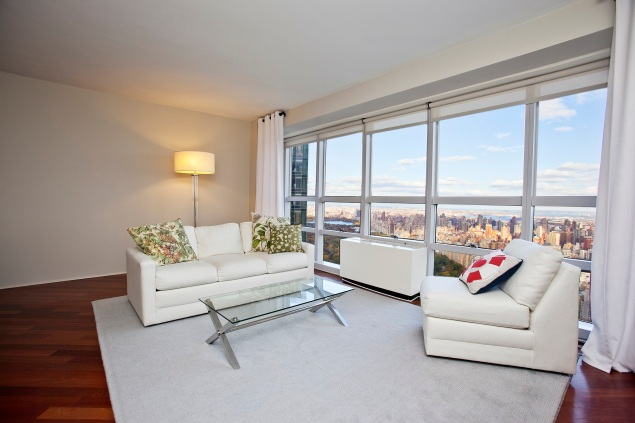 A Engels & Volker NYC listing at Metropolitan Tower. One57 is visible from the corner of the window.