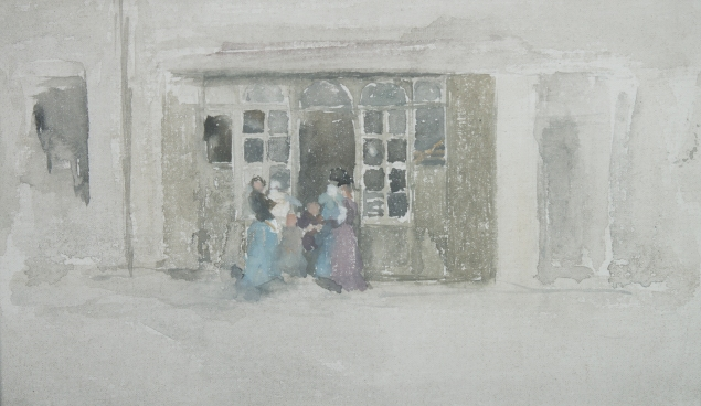 James Abbott McNeill Whistler, Women and Children outside a Brittany Shop, (ca. 1888). (Courtesy Thomas Coville Fine Art)