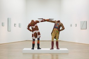 Yinka Shonibare How to Blow Up Two Heads at Once (Gentlemen) 2006, as displayed at the Savannah College of Art and Design Museum of Art in 2014.
