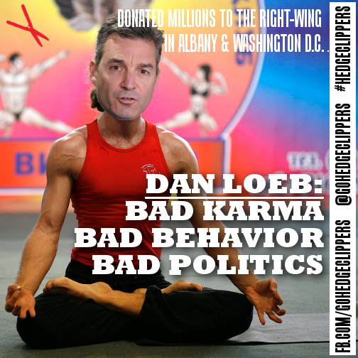 A meme from Hedge Clippers mocking Daniel Loeb's love of yoga and conservative politics.