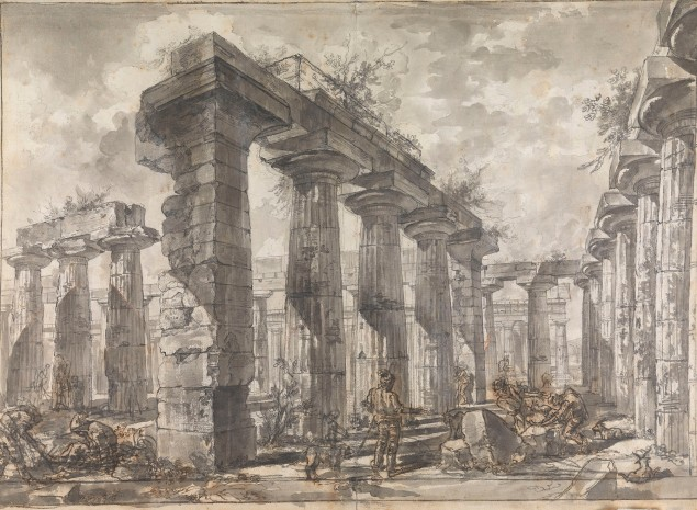 Giovanni Battista Piranesi View of the Interior of the Basilica, Looking North (Study for plate V of the Différentes vues de Pesto) (ca. 1777-78). (Photo: Courtesy of the Trustees of Sir John Soane's Museum)