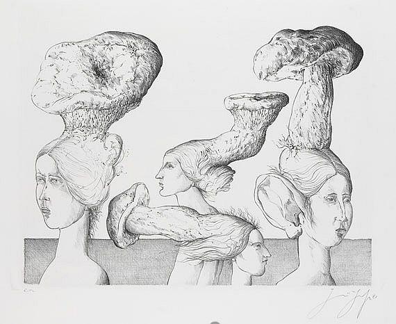 Vier Frauen mit Pilzhüten, 1981). Photo: Ketterer Kunst)
