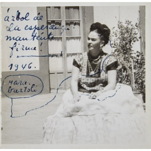 In the correspondences, Ms. Kahlo included precious personal keepsakes and mementos, including original drawings, photographs, and pressed flowers (Photo courtesy of Doyle New York).