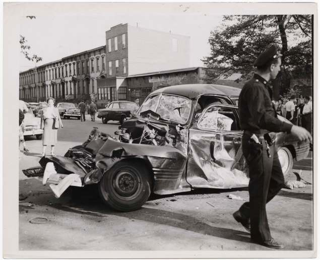 """Car and truck collision,"" by Weegee ca. 1947.  (Photo courtesy of ICP)"