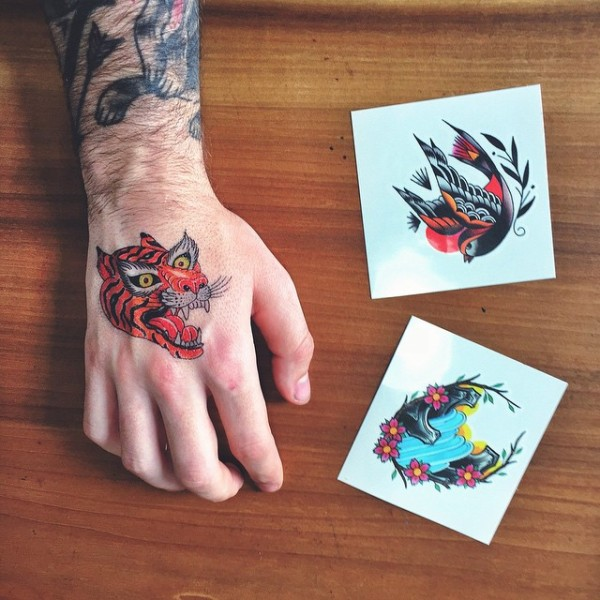 """Temporary tattoos by True Hand, inspired by the Philadelphia Museum of Art's """"Ink and Gold: Art of the Kano"""" exhibition. (Photo via @truehandsociety Instagram)"""