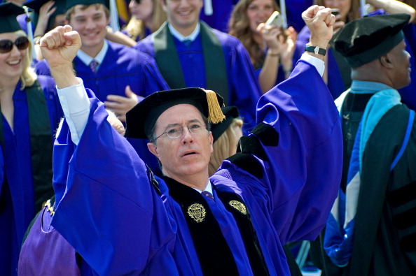 Stephen Colbert at Northwestern University (Photo by Timothy Hiatt/Getty Images)