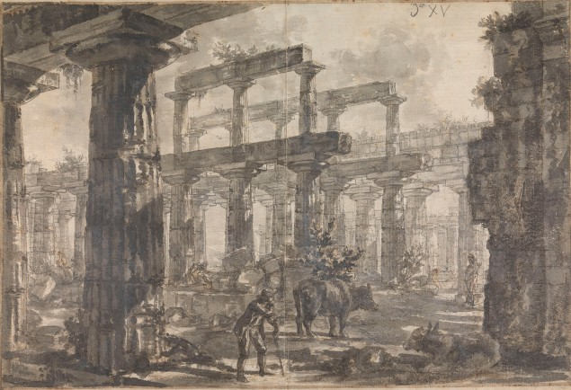 Giovanni Battista Piranesi Interior of the Temple of Neptune, Looking Southeast (Study for plate XVII of the Différentes vues de Pesto) ca. 1777–78. (Photo: Courtesy of the Trustees of Sir John Soane's Museum)