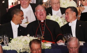 President Barack Obama, Cardinal Timothy Dolan and Mitt Romney. Photo by Mario Tama/Getty Images.