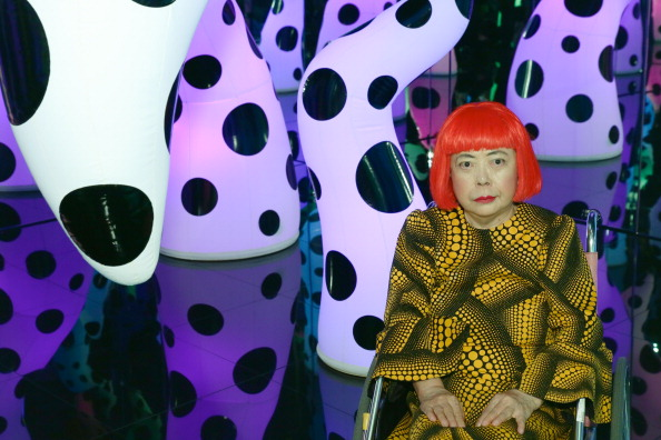 """Yayoi Kusama attends the Yayoi Kusama """"I Who Have Arrived In Heaven"""" Exhibition Press Preview at David Zwirner Art Gallery on November 7, 2013 in New York City.  (Photo by Andrew Toth/Getty Images)"""