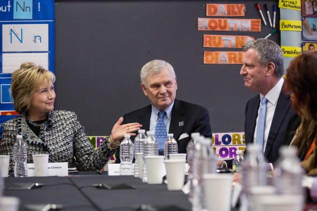 Mayor Bill de Blasio with Hillary Clinton last year. (Photo: Andrew Burton/Getty Images)