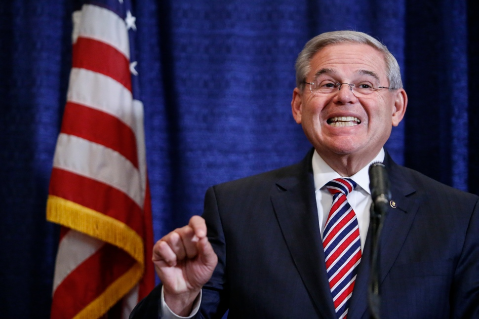 Sen. Robert Menendez (D-NJ) speaks at a press conference on April 1, 2015 in Newark, New Jersey. According to reports, Menendez has been indicted on federal corruption charges of conspiracy to commit bribery and wire fraud. (Photo by Kena Betancur/Getty Images)
