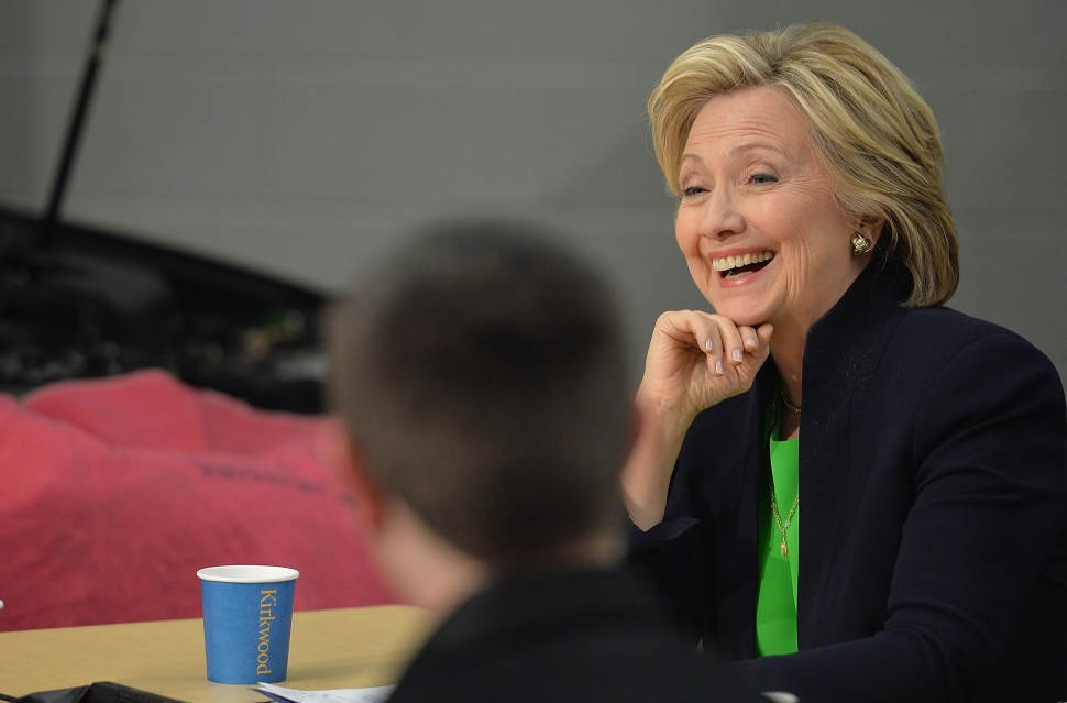 Hillary Rodham Clinton participates in a roundtable discussion with students and educators during a campaign event at Kirkwood Community College April 13, 2015 in Monticello, Iowa. Hillary Clinton announced her candidacy for the United States presidency on April 12, 2015 and is expected to be the frontrunner for the Democratic Party nomination. AFP PHOTO / MICHAEL B. THOMAS (Photo credit should read Michael B. Thomas/AFP/Getty Images)