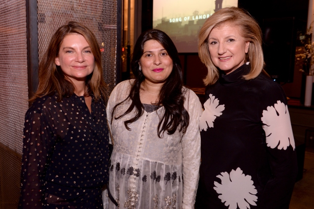 Natalie Massenent,  Sharmeen Obaid-Chinoy and Arianna Huffington celebrate the premiere of Song of Lahore. (Photo: Getty)