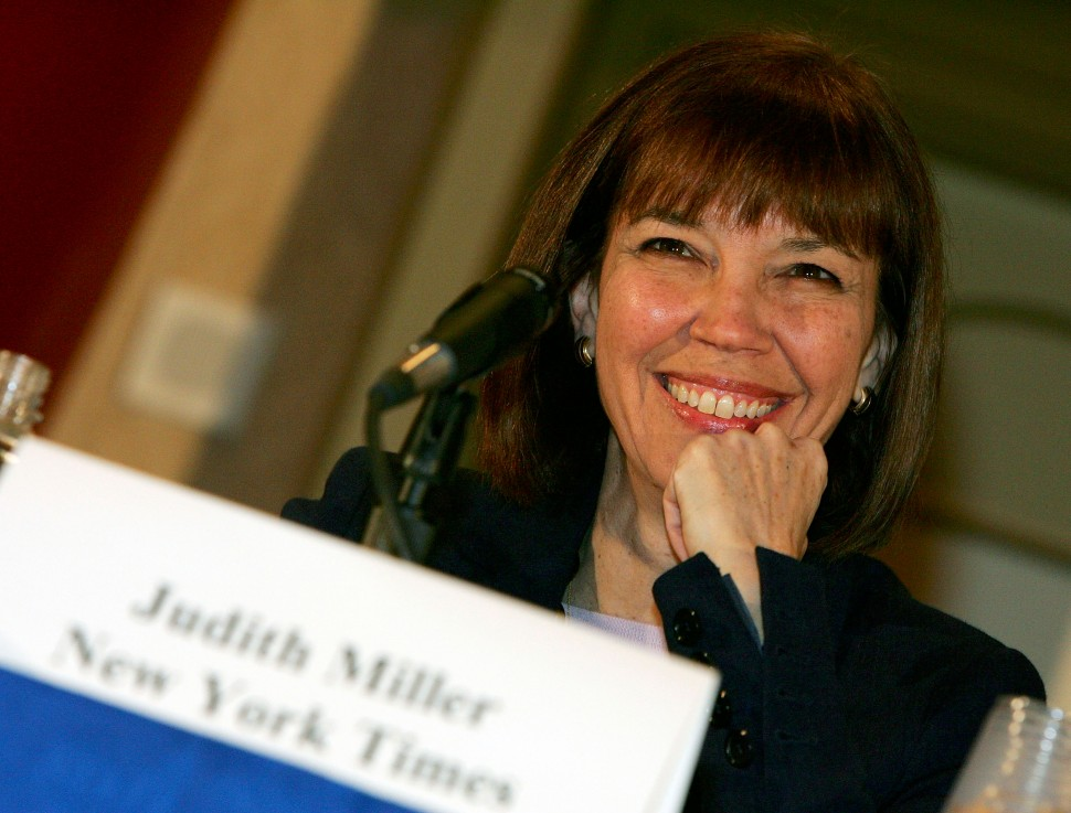 New York Times reporter Judith Miller smiles at the 2005 Society of Professional Journalists Convention & National Journalism Conference at the Aladdin Casino & Resort October 18, 2005 in Las Vegas, Nevada. Miller, who was jailed 85 days for refusing to reveal the source who disclosed the identity of undercover CIA agent Valerie Plame, received the First Amendment Award from the group before taking part in a panel discussion titled 'The Reporter's Privilege Under Siege.' (Photo by Ethan Miller/Getty Images)