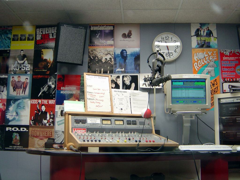 A campus radio station, which today might as well just be an iPhone with a Yeti microphone attached. (Photo: laffy4k)