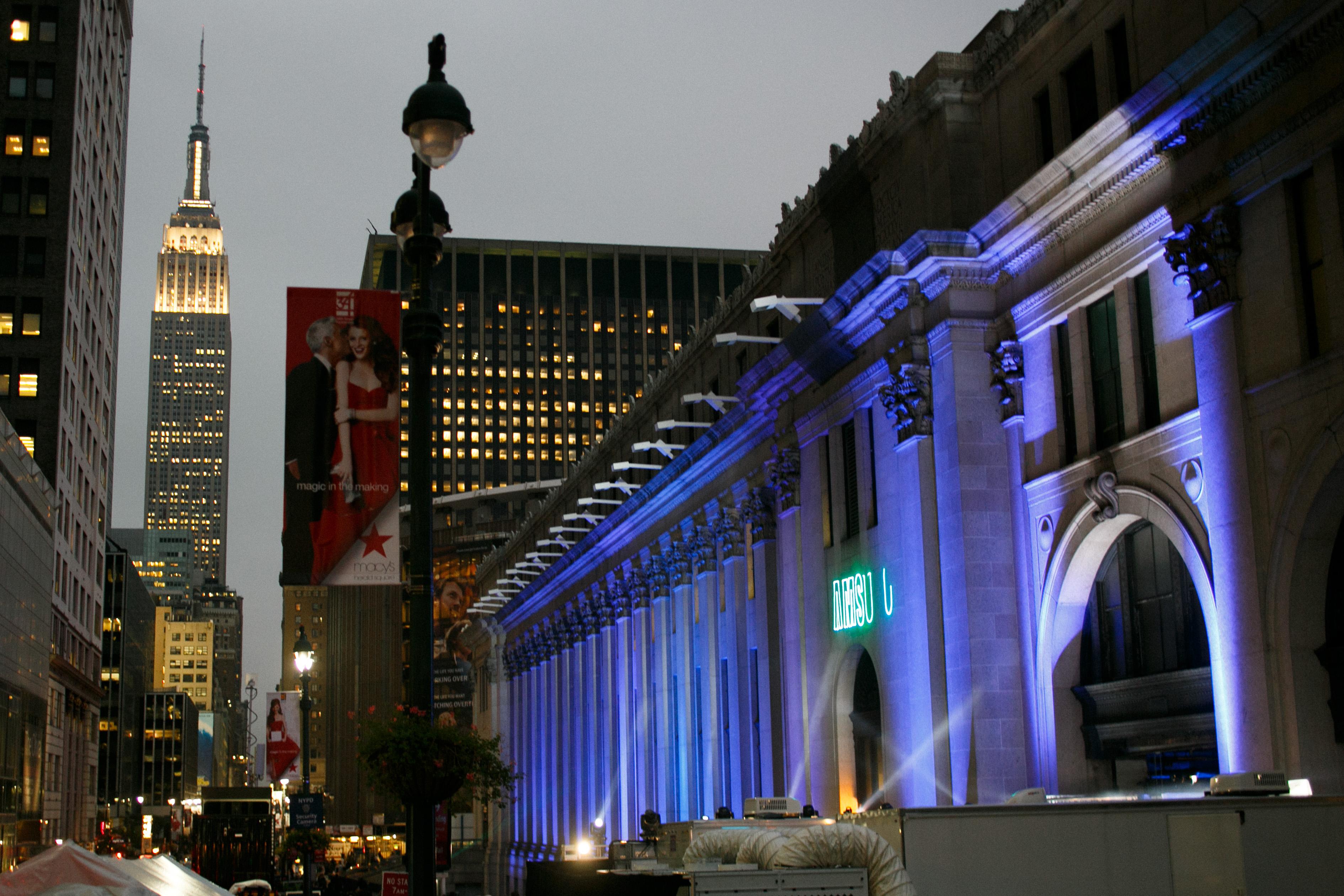 Skylight at Moynihan Station's facade lit up at night. Photo: Allan Zepeda/Skylight NYC