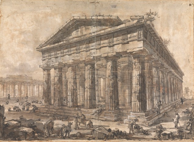 Giovanni Battista Piranesi, View of the Temple of Neptune, Looking Southwest (Study for plate X of the Différentes vues de Pesto) (ca. 1777-78). (Photo: Courtesy of the Trustees of Sir John Soane's Museum)