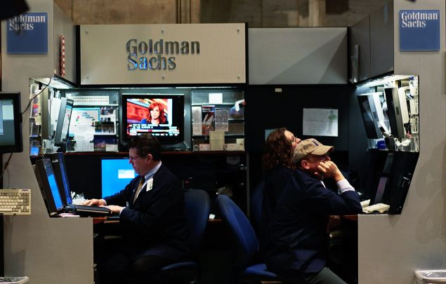 The Goldman Sachs booth at the New York Stock Exchange.