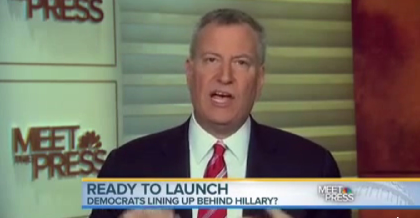 """Mayor Bill de Blasio on """"Meet the Press"""" the day Ms. Clinton announced, not endorsing her."""