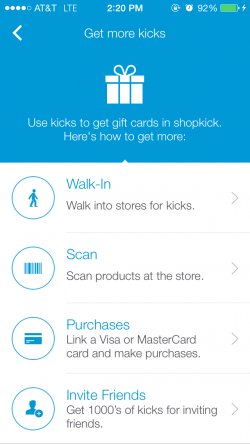 Some of the ways Shopkick users can earn rewards. (Photo: Shopkick)