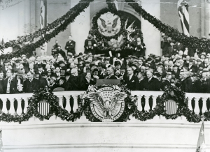 Franklin Delano Roosevelt at his first inauguration.