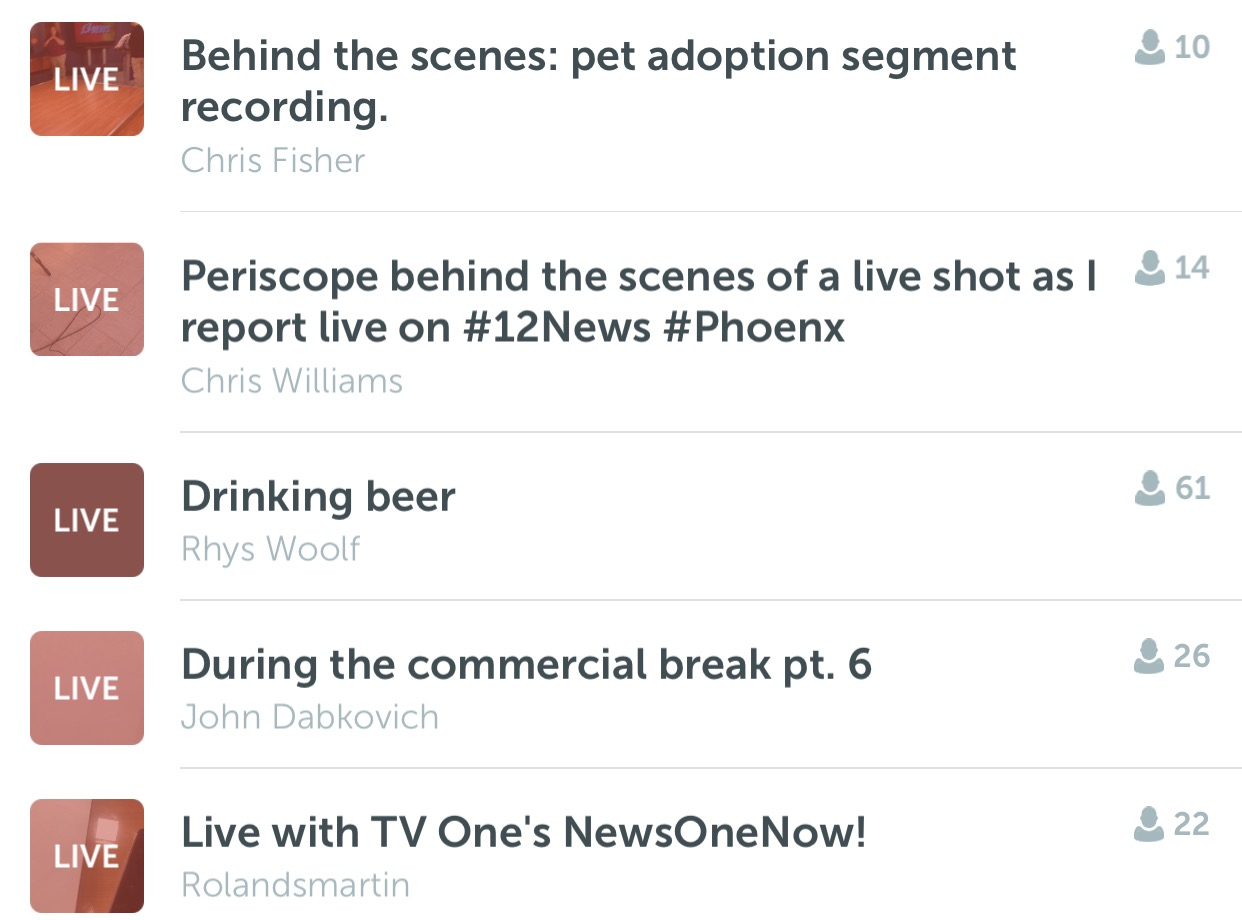 "A cross-section of my random periscope feeds this morning. You'll note that ""Drinking Beer"" is leading the pack. (Screengrab: Jack Smith IV)"