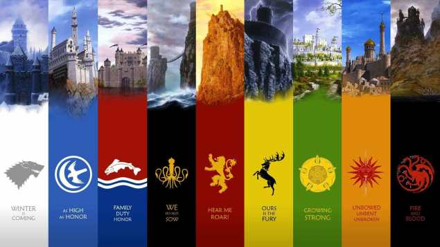 Various house sigils in Game of Thrones.