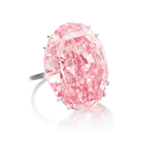 The Pink Star, weighing 59-carats, sold for $83-million at Sotheby's in TKTK but its buyer couldn't pay for it. The house bought back the stone, now valued bear $72 million. (Photo: Sotheby's)