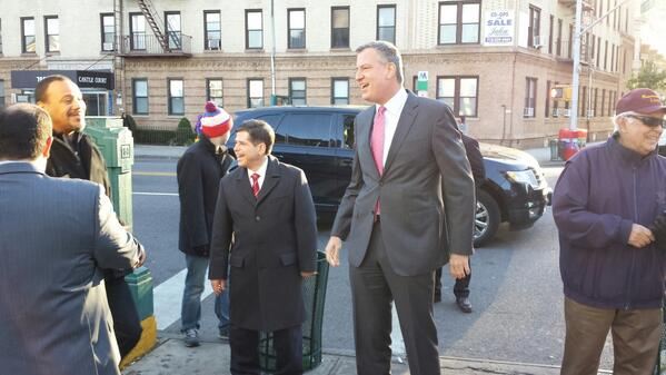 Councilman Vincent Gentile campaigns for then-Public Advocate Bill de Blasio in 2013 (Photo: Twitter).