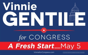 A Vincent Gentile campaign sign with a disclaimer in the lower right hand corner.