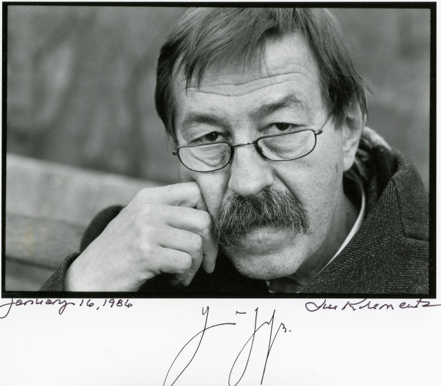 Günther Grass photographed by Jill Krementz at PEN International Conference in New York City on January 16, 1986. He later signed the print for Krementz when he appeared on June 27, 1997 with Norman Mailer at The New York Public Library. It was Mailer's last public appearance. They didn't yet know his secret.