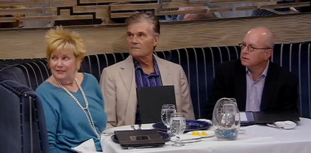 A horrified Fred Willard watches on as contestant Josh drops a few f-bombs