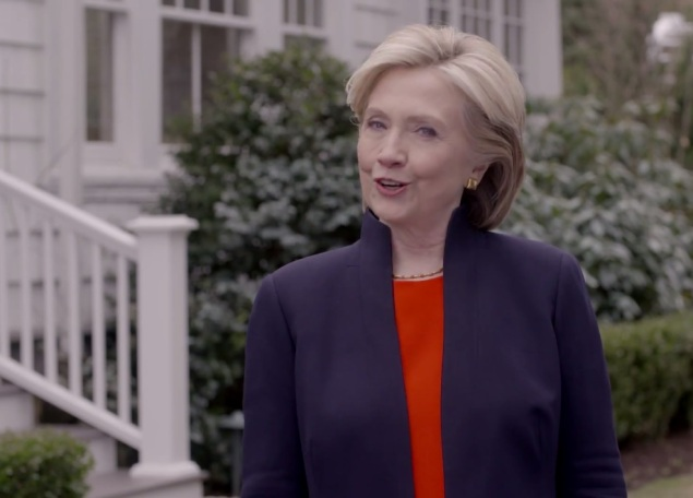 Hillary Clinton in her campaign launch video. (Screengrab: YouTube)