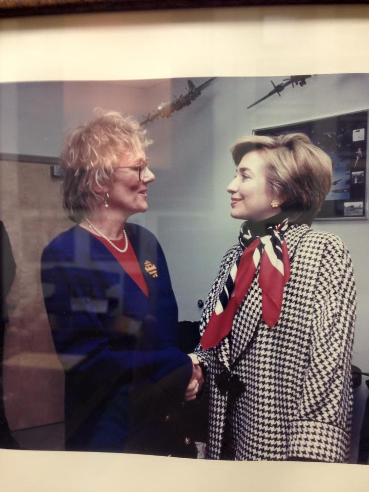 Essex County Freeholder Patricia Sebold (left) and Hillary Clinton. Courtesy of Facebook.