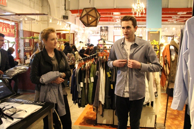 The Observer tries on one of Stantt's 75 shirt sizes. (Photo: The New York Observer/Jordyn Taylor)