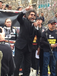 Cornel West emphatically addressing the crowd at Union Square (Ben Shapiro/Observer)