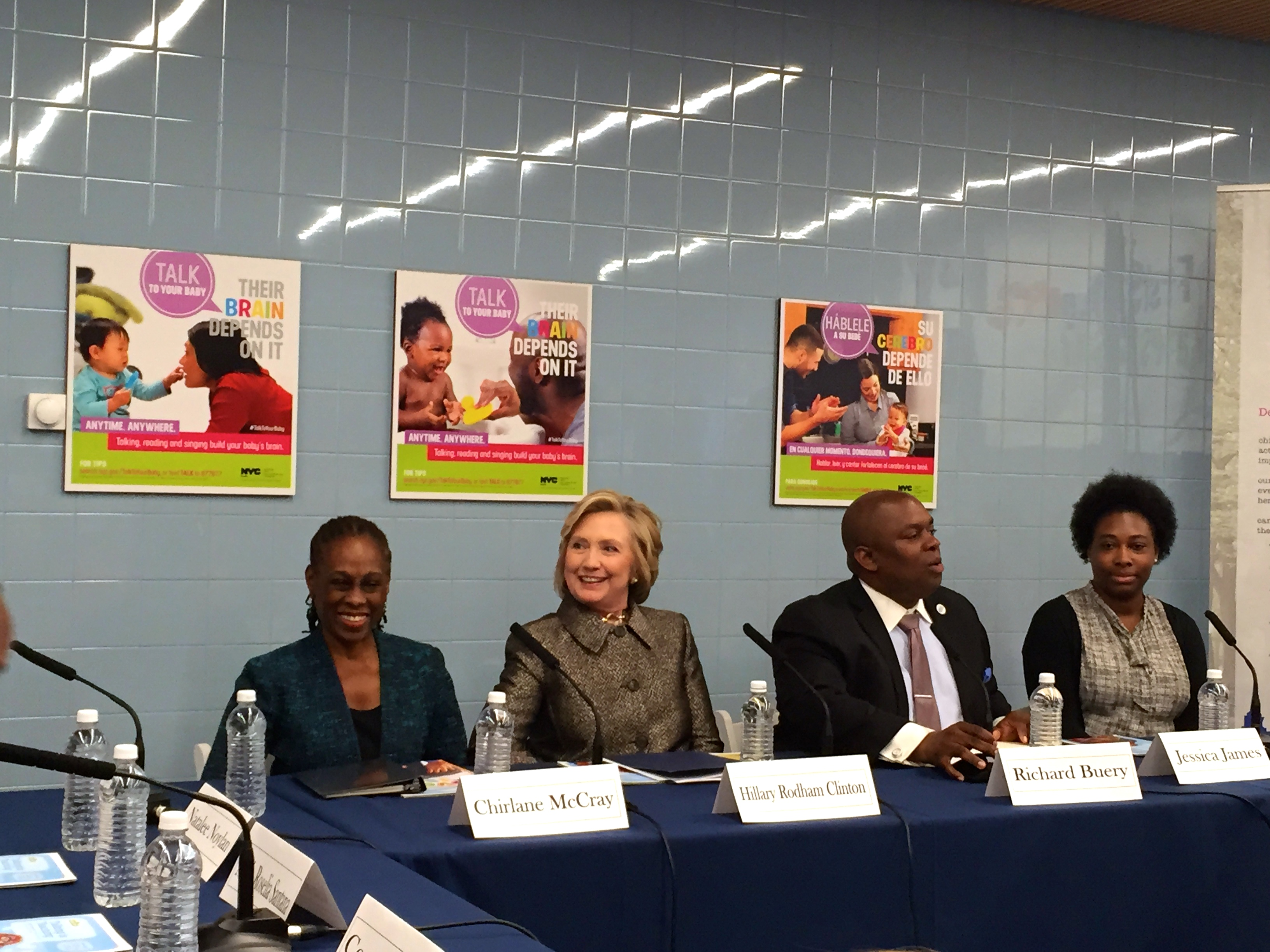 First Lady Chirlane McCray, former Secretary of State Hillary Clinton, and Deputy Mayor Richard Buery at a roundtable in Brownsville, Brooklyn. (Photo: Jillian Jorgensen/New York Observer)