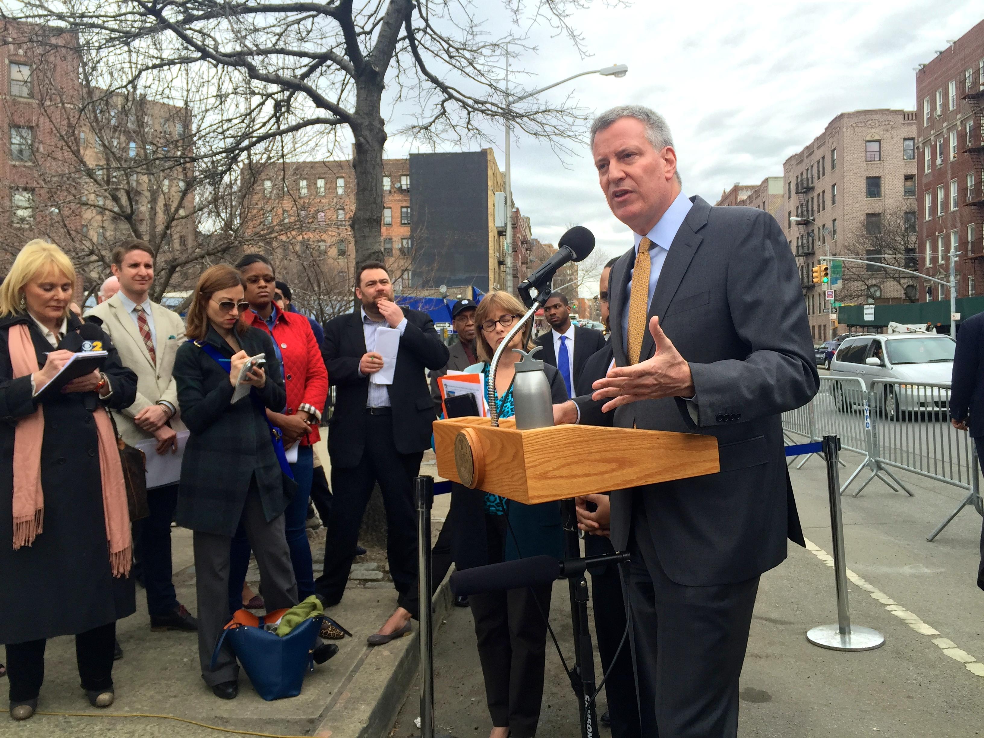 Mayor Bill de Blasio speaks about Hillary Clinton this afternoon. (Photo: Jillian Jorgensen/New York Observer)