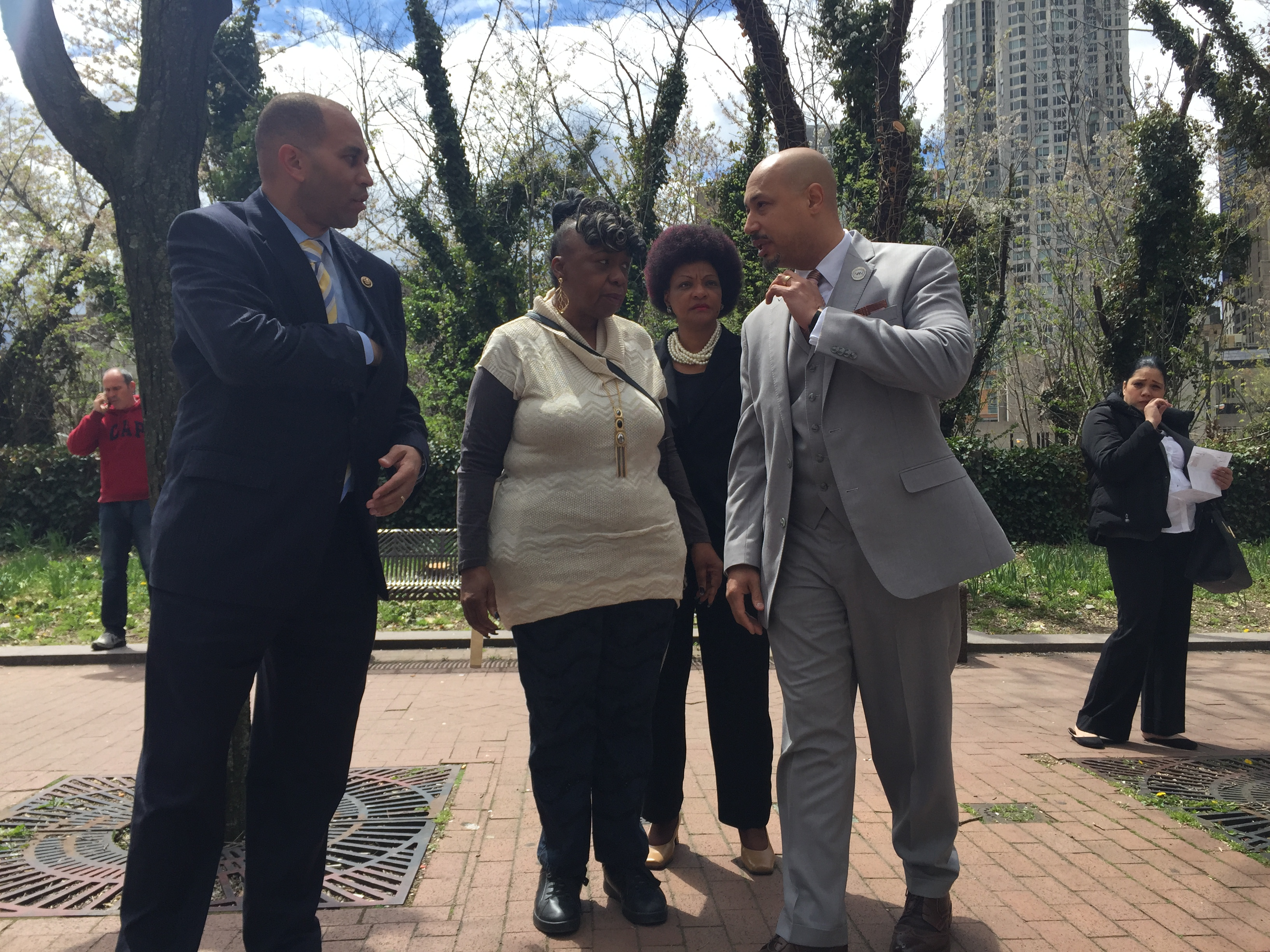 Congressman Hakeem Jeffries stands with Gwen Carr, the mother of Eric Garner, and Cynthia Davis and Kirsten John Foy of the National Action Network before today's announcement. (Photo: Jillian Jorgensen/New York Observer)