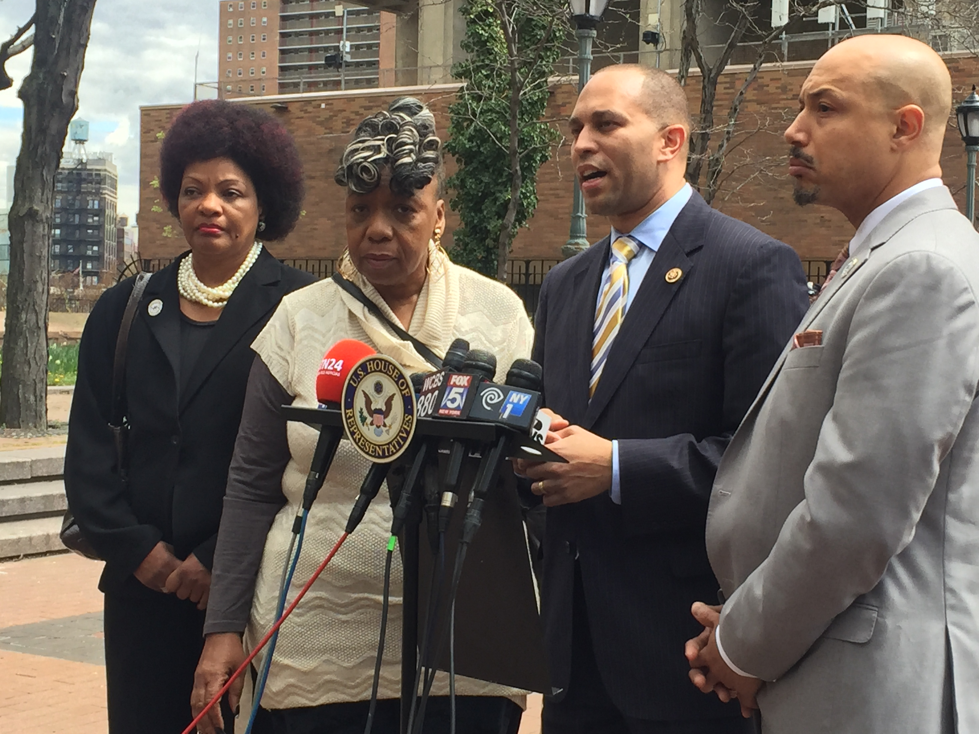 Cynthia Davis, of the National Action Network, Gwen Carr, mother of Eric Garner, Congressman Hakeem Jeffries and Kirsten John Foy of the National Action Network outside NYPD headquarters today. (Photo: Jillian Jorgensen/New York Observer)