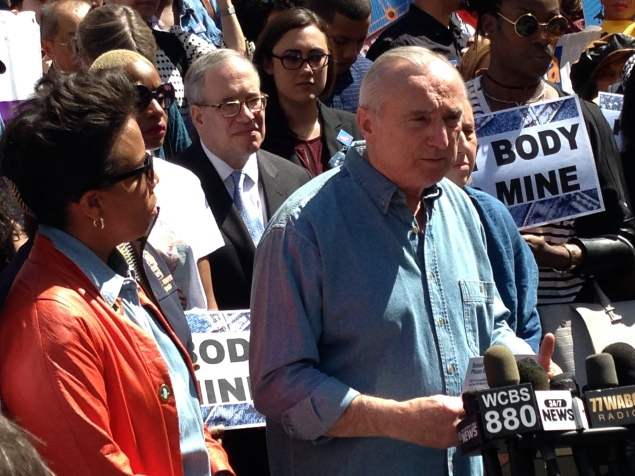 Commissioner Bill Bratton joins Councilwoman Laurie Cumbo, Manhattan Borough President Gale Brewer and Comptroller Scott Stringer for Denim Day (Photo: Will Bredderman/New York Observer).