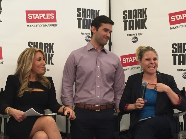 Lori Greiner with the founders of Bantam Bagels, who she invested in on Shark Tank. (Photo: The New York Observer/Sage Lazzaro)